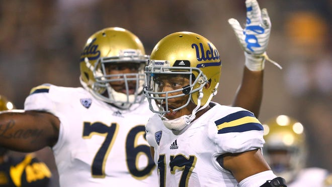 Brett Hundley (17) and UCLA had four touchdown plays of 80 or more yards in a 62-27 win at Arizona State on Thursday.