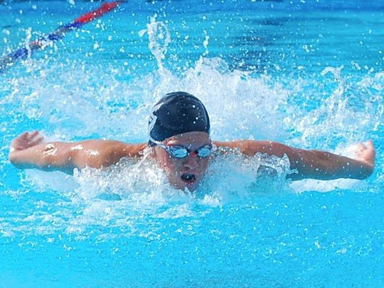 Sophomore Cody Meyer swims for Palm Springs High School.