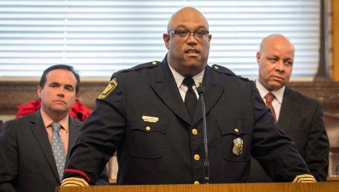 Interim Police Chief Eliot Issac speaks to the community and media inside City Hall Thursday December 10, 2015. City Manager Harry Black joined Mayor John Cranley and members of City Council to announce Issac as the 15th police chief in Cincinnati history.