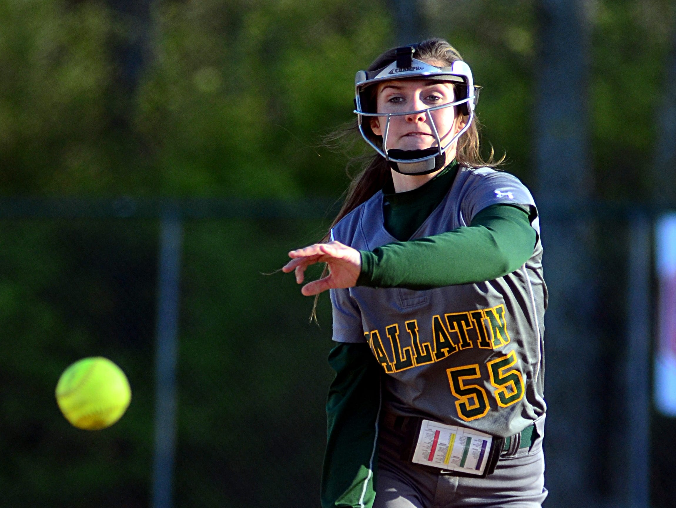 Gallatin High junior Savannah Link delivers a pitch during third-inning action. At the plate, Link had one hit and scored a run in the Lady Wave's 12-4 loss to Station Camp.