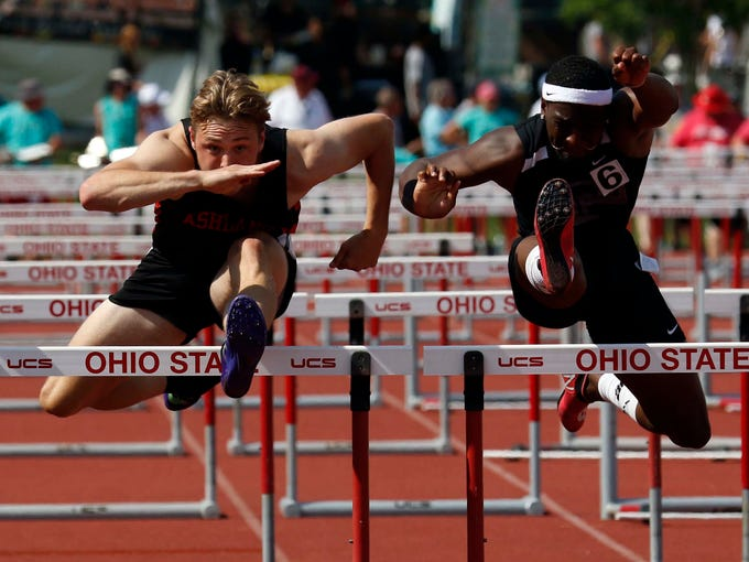 Ashland's Hudson McDaniel runs in the 110 meter hurdles