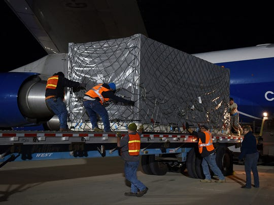 GRACE-FO Arrives at Launch Site. A crate containing one of the twin Gravity Recovery and Climate Experiment Follow-On (GRACE-FO) satellites.
