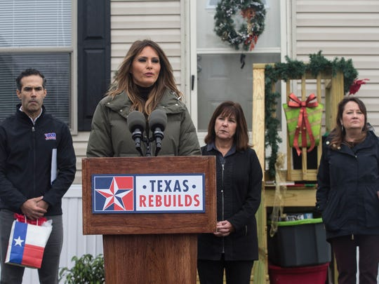 First lady Melania Trump speaks about the ongoing rebuilding efforts following Hurricane Harvey on Wednesday, Dec. 6, 2017, in Rockport, TX.