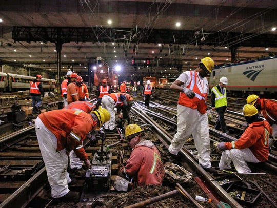 In April, Amtrak workers make repairs on railroad tracks