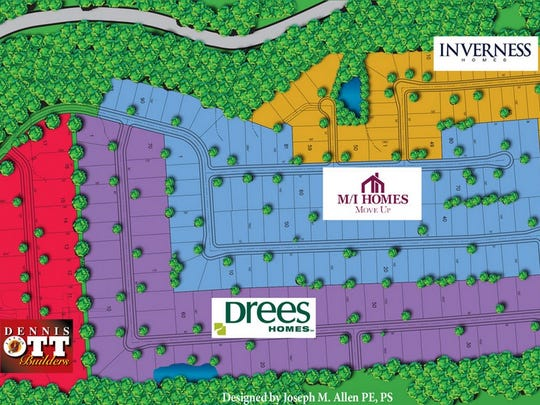 A map of the Greenshire Commons housing development