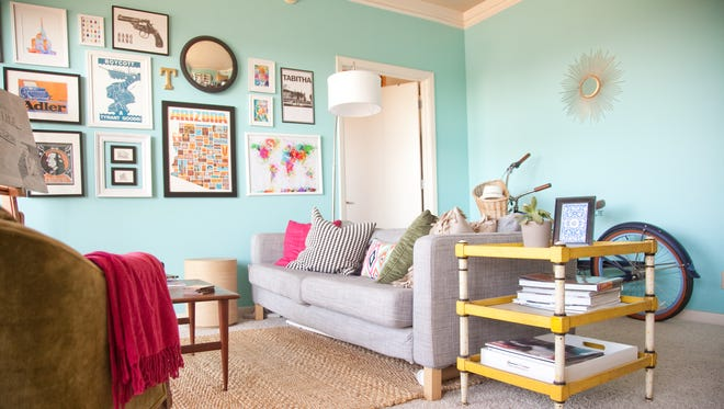 The living room is seen at the home of Tabitha Myers in Phoenix, AZ on Friday, May 4, 2012. Myers lives in a 559 square foot apartment, and entered the apartment in Apartment Therapy's 2012 Small/Cool contest.