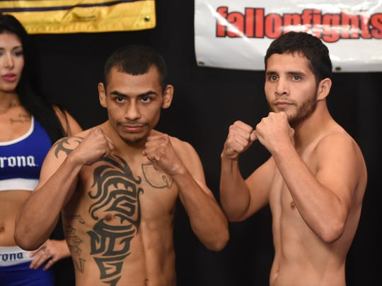 Sergio Lopez, left, and Reno's Oscar Vasquez pose at John Ascuaga's Nugget during Thursday's weigh-in for the Rural Rumble.