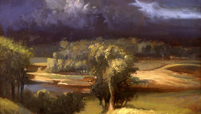 """Frank Mason's """"Storm Over Jeffersonville"""" is among the works featured at an exhibition that opens today in Jeffersonville."""