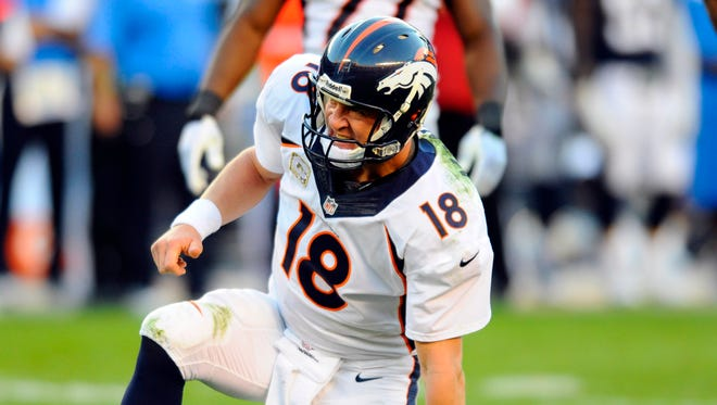 Broncos QB Peyton Manning was upright for practice Thursday.