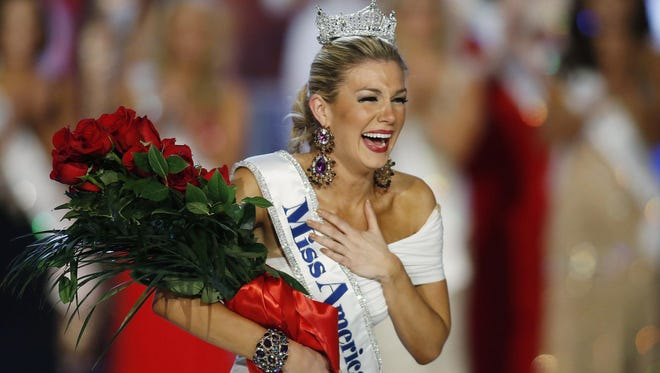 In this Jan. 12, 2013 file photo, Miss New York Mallory Hytes Hagan is crowned Miss America 2013 in Las Vegas.