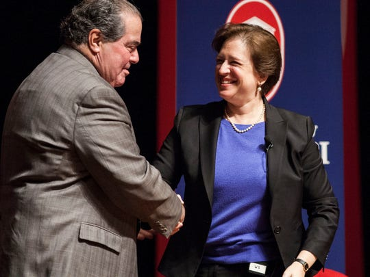 Supreme Court Associate Justice Elena Kagan established a close relationship with Associate Justice Antonin Scalia, who appeared with her at the University of Mississippi in 2014.