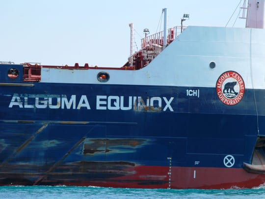 The Algoma Equinox shows some of the scars sustained during the shipping season.
