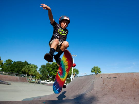 Sam Wells, 11, skateboards Wednesday at the Bonita Springs Skatepark. Wells was one of several local skaters that fought to keep the park open.