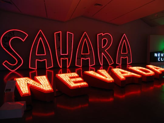 Will Durham's neon sign collection displayed at the Nevada Museum of Art in 2013. The Sahara and Nevada Club signs.