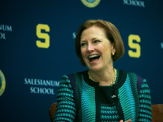 Ellen Kullman, former chief executive officer and chairwoman of the DuPont Co., speaks at a Breakfast Speaker Series, an event open to friends of Salesianum School and the greater community in Wilmington on Thursday, April 7, 2016.