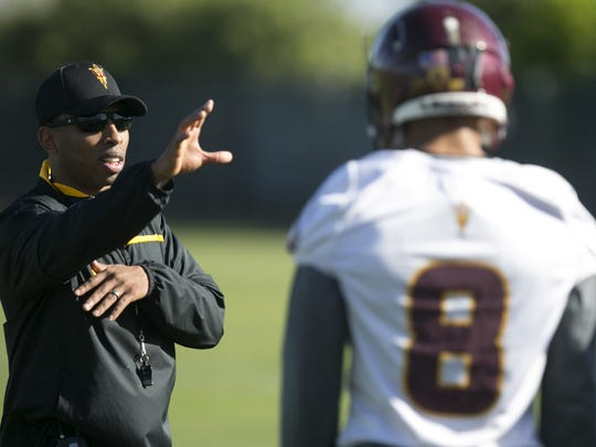 ASU defensive backs coach T.J. Rushing coaches during Day 2 of ASU Spring football practice at the ASU practice facility in Tempe on Wednesday, March 16, 2016.