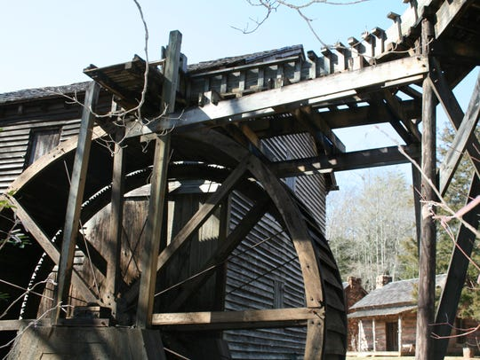 The water wheel at Hagood Mill is a popular part of