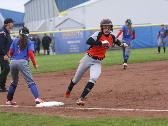Keely Snyder rounds third and scores Wednesday in Gibsonburg's victory over Crestview in the regional semifinals.