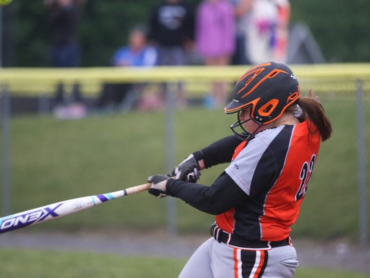 Gibsonburg's Abby Cantrell swings at a pitch against Crestview.