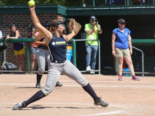 Ottawa Lake Whiteford pitcher Lindsey Walker fires the ball to home plate Saturday in East Lansing.