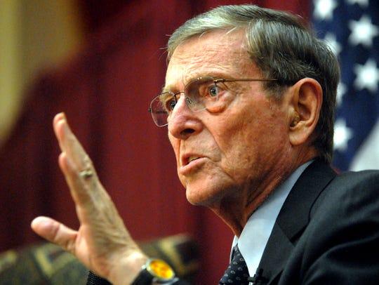 Former U.S. Sen. Pete V. Domenici speaks during the