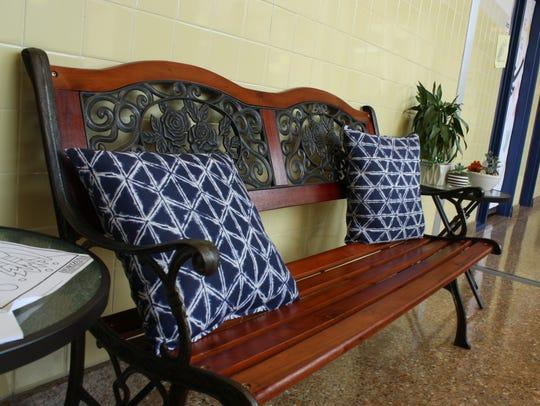 A bench at Binghamton's Horace Mann Elementary School