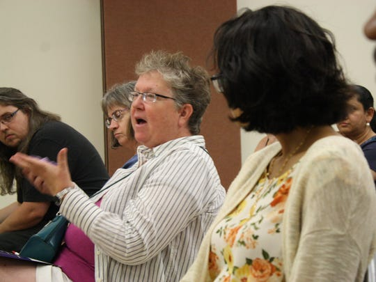 Elizabeth Schafer, of Oxford, asks a question at Tuesday's