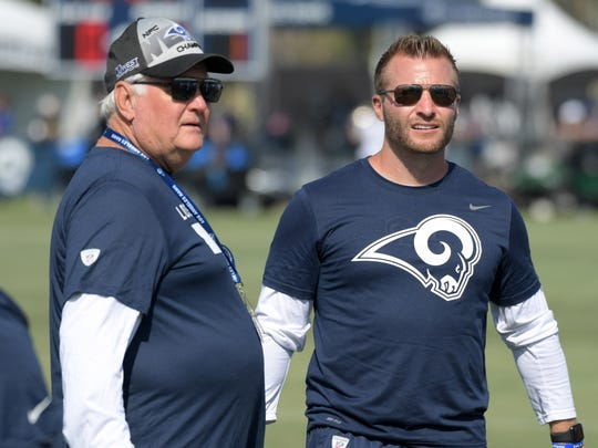 Jul 28, 2018; Irvine, CA, USA; Los Angeles Rams defensive coordinator Wade Phillips (left) and coach Sean McVay react during training camp at UC Irvine. Mandatory Credit: Kirby Lee-USA TODAY Sports