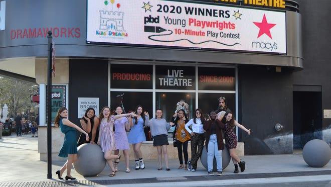The winners of the 2020 Palm Beach Dramaworks Young Playwrights 10-Minute Play Contest are, from left:  Allison Dobuler, Arce McKeilla Malabunga, Jordan Monteagudo, Jane Montgomery, Lauren Ortega, Catherine Paulitz, Jasmine Perez, Barrett Vargas, Ashley S. Watkins and Grace Wodar.