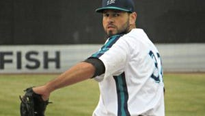 Former major league Jon Albaladejo picked up the win against Somerset on Tuesday night (Photo: Mike Ashmore)