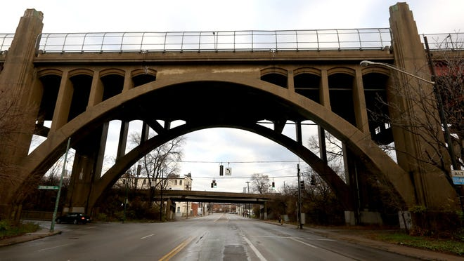 A view of the Western Hills Viaduct from Spring Grove Avenue on December 22. The half-mile bridge opened in January 1932.