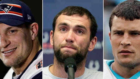 Rob Gronkowski (left), Andrew Luck and Luke Kuechly each surprised NFL fans over the past year or so, announcing their retirements at ages when they possibly left productive years on the table. The recent decisions of three of the game's best 30-and-under stars could be coincidence or the continuance of, for some, a worrisome trend.