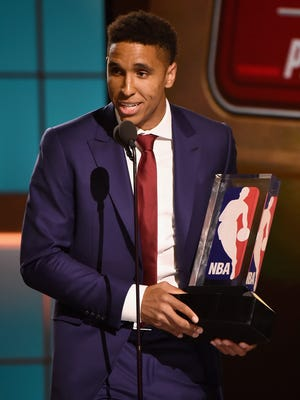 2017 NBA Rookie of The Year Winner, Malcolm Brogdon, speaks on stage during the 2017 NBA Awards.