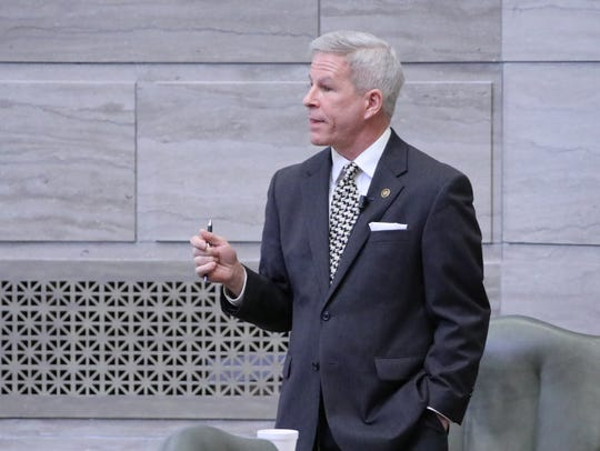 Sen. Rob Schaaf, R-St. Joseph, talks on the Senate