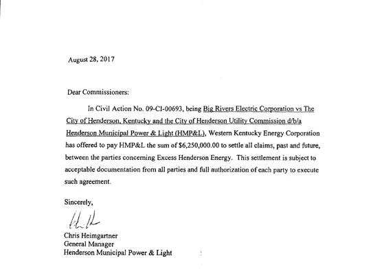 A letter from Henderson Municipal Power & Light Manager