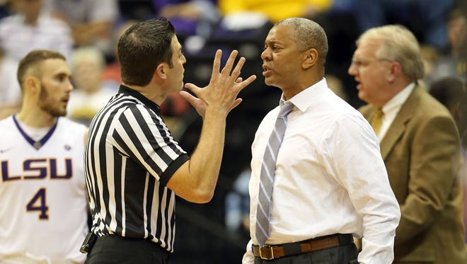 LSU Tigers head coach Johnny Jones talks to an official in the second half of their game against the Wake Forest Demon Deacons at the Pete Maravich Assembly Center. Wake Forest won, 77-71.