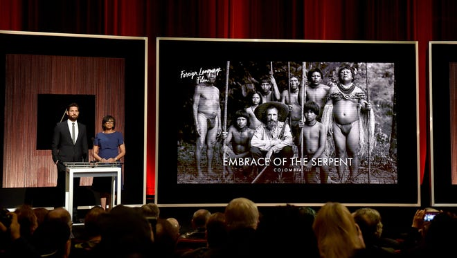 Actor John Krasinski and President of the Academy of Motion Picture Arts and Sciences Cheryl Boone Isaacs announce 'Embrace of the Serpent' as a nominee for Best Foreign-Language Film during the 88th Oscars Nominations Announcement at the Academy of Motion Picture Arts and Sciences on January 14, 2016 in Los Angeles, California.  The film will be played at Salisbury University on Sunday, May 7, 2017.