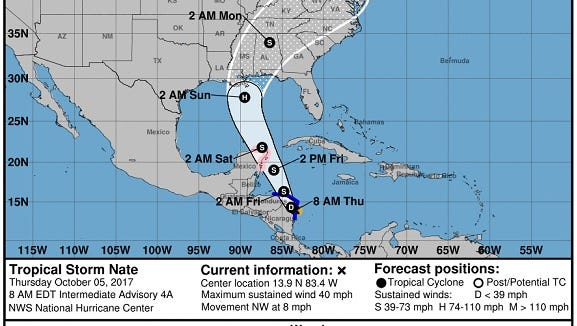 Tropical Storm nate was gathering strength as it approached the Gulf of Mexico on a track toward  the southeastern U.S.