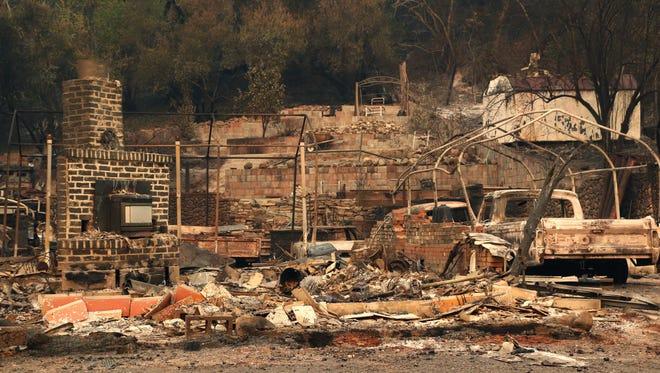 A general view of fire damage in Glen Ellen, Calif.