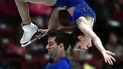 Americans Deanna Stellato and Nathan Bartholomay compete