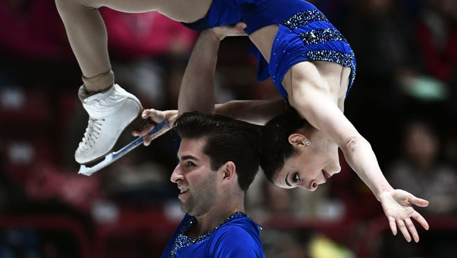Americans Deanna Stellato and Nathan Bartholomay compete in the short program at the World Figure Skating Championship on March 21 near Milan.