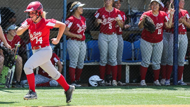 Sonora's Kristin Garrett runs to home plate during the FCA All-Star Festival softball game Friday, June 8, 2018, at Mayer Field.