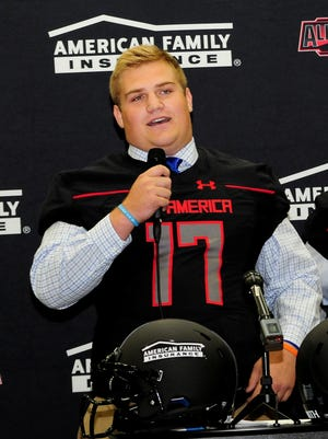 Clemson offensive line recruit Matt Bockhorst speaks during a press conference for the Under Armour All-American Game on Sept. 13, 2016.