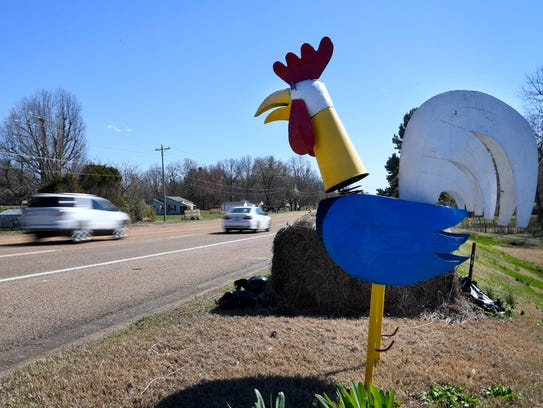Chicken art sits on the main road through Humboldt,