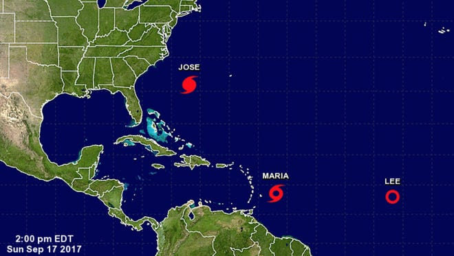 Tracking Hurricane Jose, Tropical Storm Maria and Tropical Depression Lee as of 2 p.m. Sunday, Sept. 17, 2017.