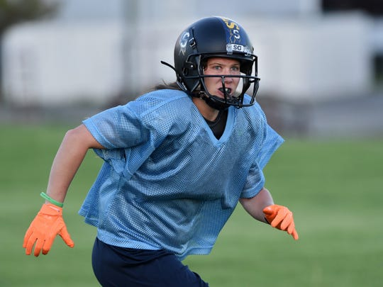 Nevada Storm's RB/S Jesse Felker keeps her eye the running back carrying the ball during practice at Mira Loma park. The Nevada Storm is preparing for their final game of the season on Saturday at Sparks High School. Kickoff is at 4 p.m. Nevada Storm is Northern Nevada's only women's tackle football team.