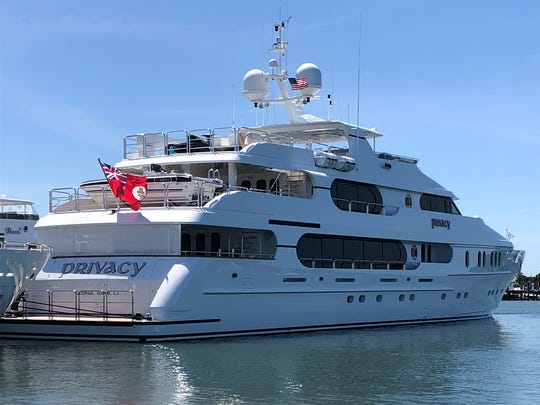 Privacy, a yacht owned by Tiger Woods, is docked in