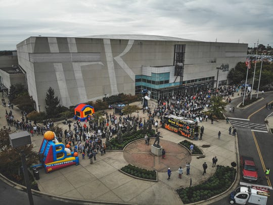 An aerial view of Fan Fest at Xavier University's Musketeer Madness event on Friday, Oct. 19, 2018 at the Cintas Center.