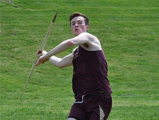 Iona Prep's Rob Greer prepares to throw the javelin