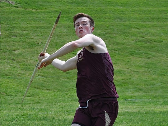 Iona Prep's Rob Greer prepares to throw the javelin at the Westchester Championships. He repeated as county champion.